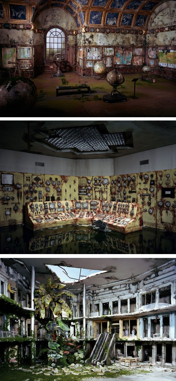 Dioramas of decay - Lori Nix, spends months building a series of Post Apocalyptic dioramas to then photograph. Eerie and captivating dioramas outside of normal room box or dollhouse creations.  Welcome to a miniature world for fatalists.