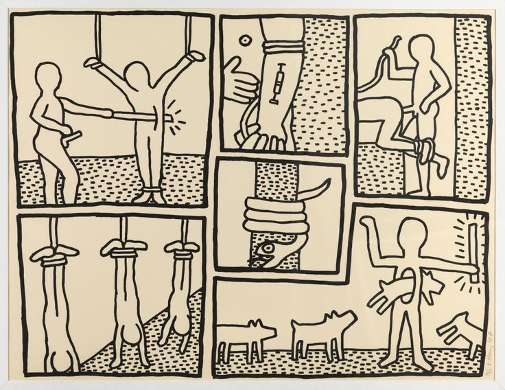 "Keith Haring 1990,  serigraph, edition: 33 The Blueprint Drawings: one plate (Littmann p.177)    Durham Press, Durham, PA,  sheet 42.25"" x 53.75""  (1073 x 1365 mm)  via Forum Auctions, UK"