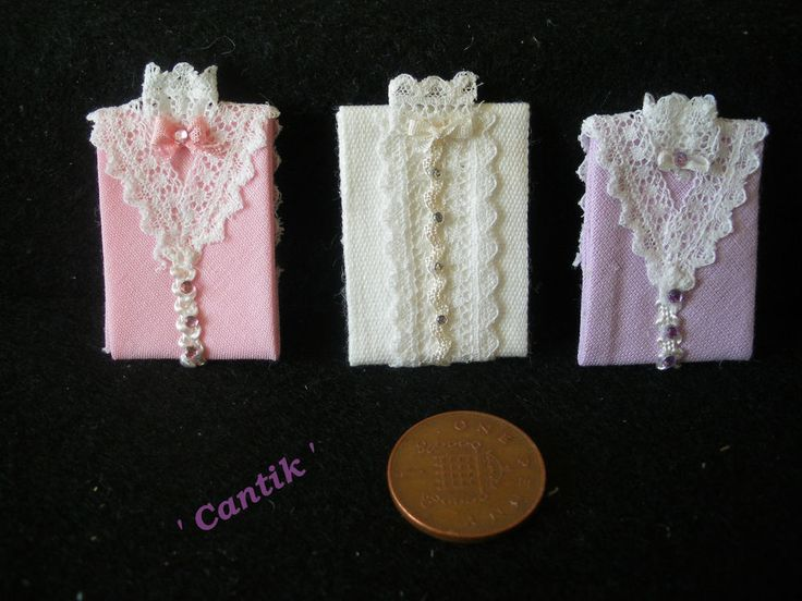 1:12 Scale Hand-Made Miniature  3  FOLDED LACE DETAIL BLOUSES LILAC WHITE & PINK