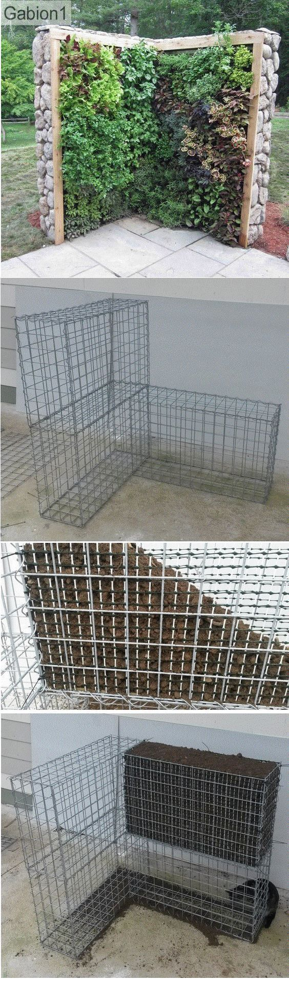 gabion green wall construction steps. Prior to placing the topsoil the gabion is lined with a smaller PVC or wire garden mesh http://www.gabion1.com