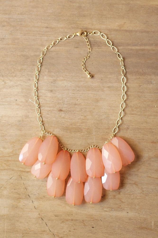 Peach Coral Teardrop Statement Necklace - Bib Necklace. $42.00, via Etsy.