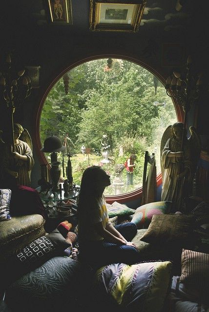 window: Spaces, Circles, Hobbit Hole, Meditation Corner, Meditation Rooms, Pillows Rooms, Round Windows, Place, Hippie Life
