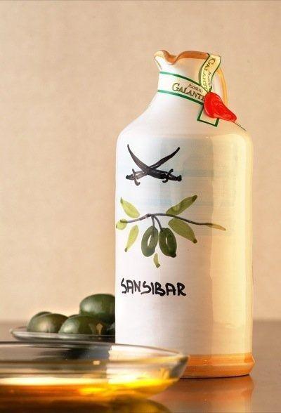"""Galantino Italienisches Oliven Öl """"only Sansibar"""" (Tonflasche 0,5 l) von Galantino, Italien online beim Sansibar Weinhandel bestellen"""