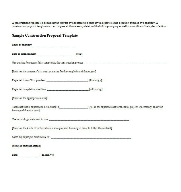 business proposal templates letter samples doc sample contract - Bid Proposals