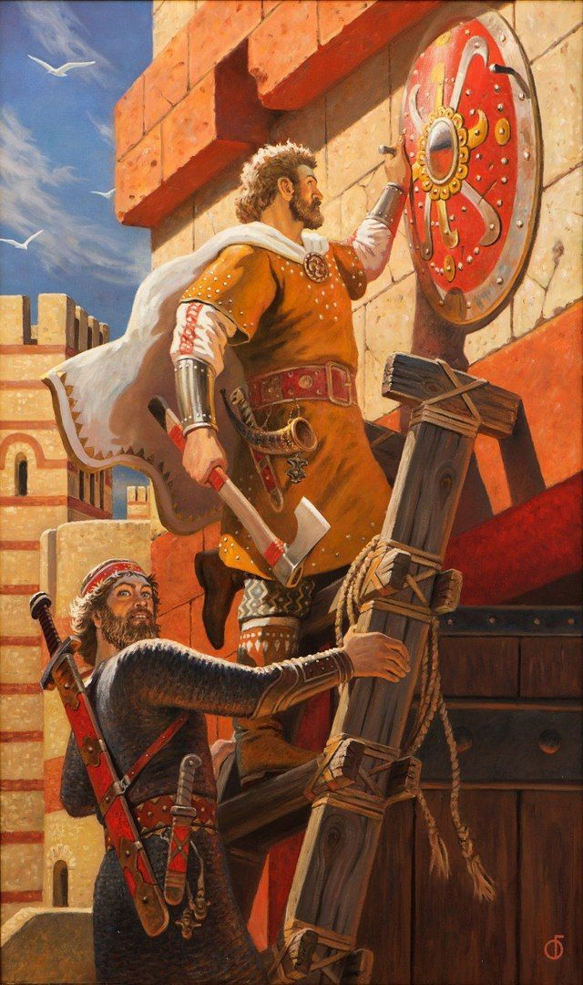 Russian duke Oleg nails his shield on the gates of Constantinopo!, Byzanthyne.