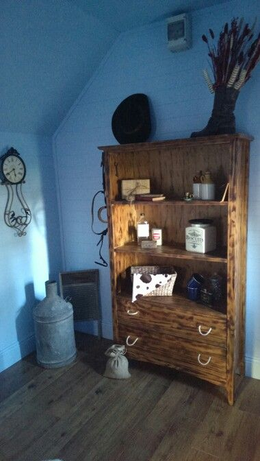 Boys playhouse, ranch themed.. this started out as a pine bookcase.. i loved every minute of doing out this house and making sure that all the small details gave a bit of wow to it..