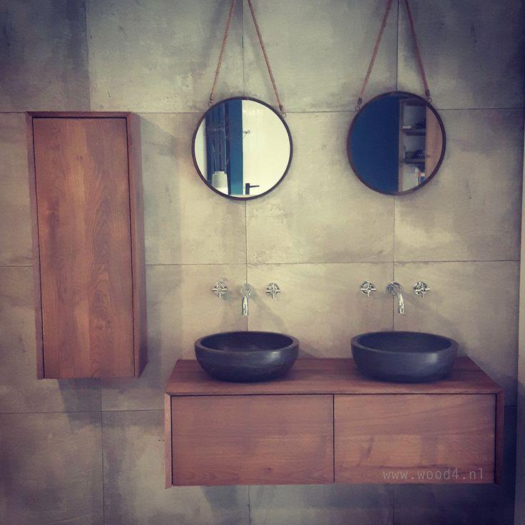 Ons Lavello LIV badkamermeubel kan ook worden gecombineerd met een subtiele bijpassende kolomkast. Verkrijgbaar in diverse kleuren. By WOOD4