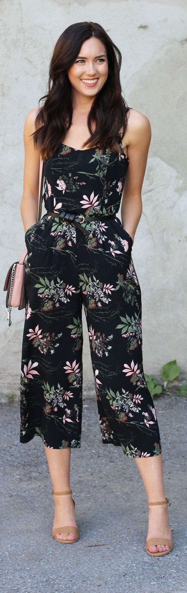 Easy to wear jumpsuit with floral palm print. Cropped legs are so flattering in summer, and easy to transition to fall!