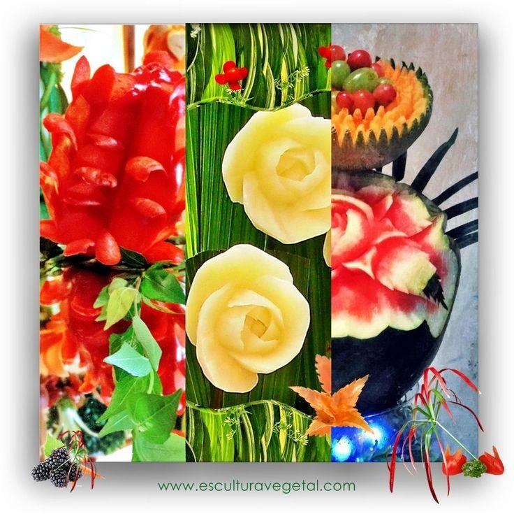 Arte, Formas y Colores, con frutas y verduras esculpidas a mano. Esculturavegetal, te proporciona los cursos y herramientas para tus tallados decorativos de cocktails, platos y buffets! www.esculturavegetal.com