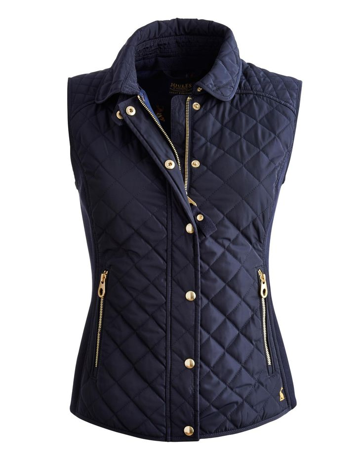 Joules Womens Slim Fit Quilted Vest, Marine Navy. When the ...