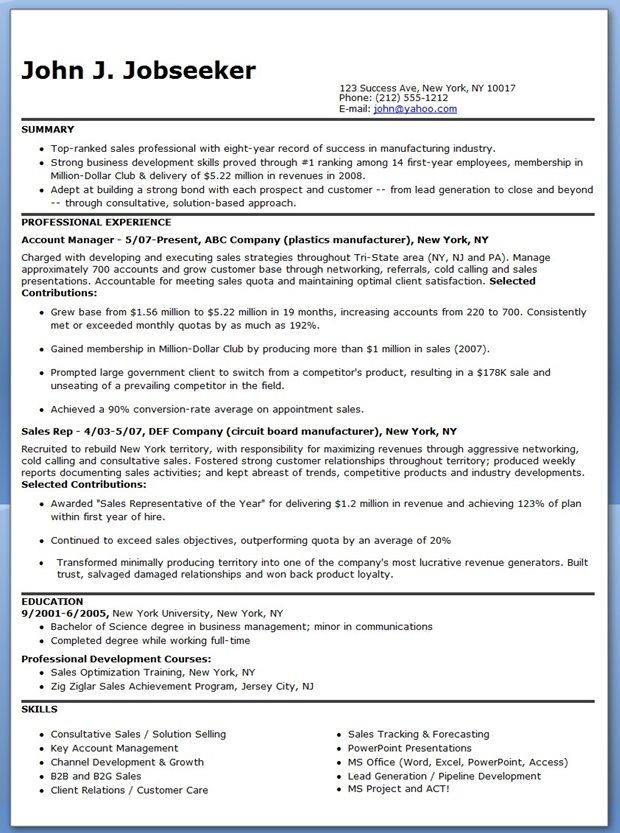manufacturer sales representative resume - Sales Representative Resume Sample