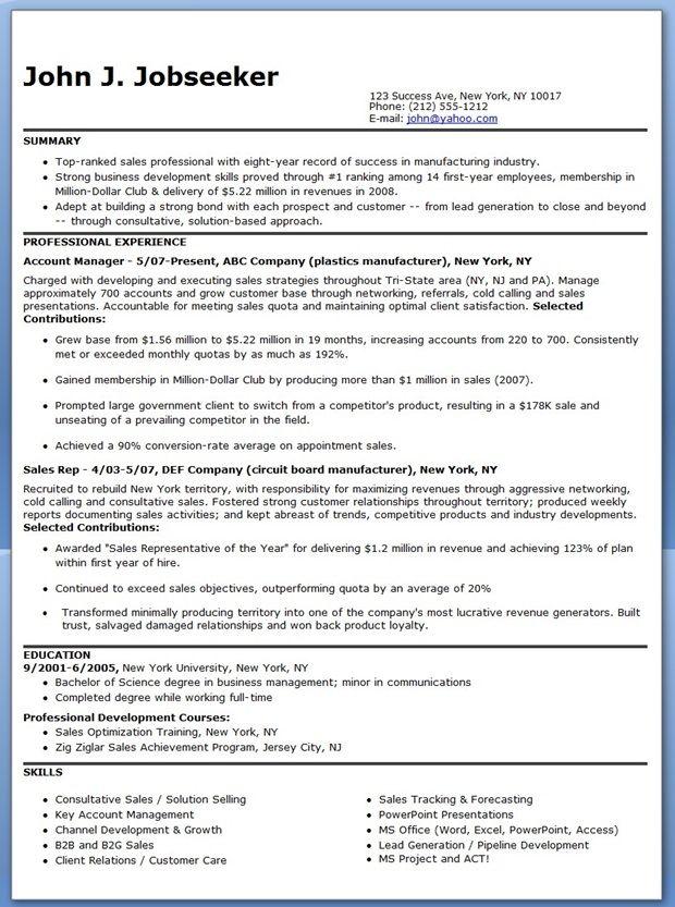 manufacturer sales representative resume