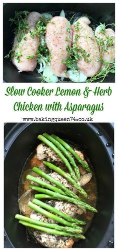 .Slow cooker lemon & herb chicken with asparagus recipe - this healthy crockpot recipe looks delicious!