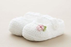 Christening Baby Shoes White Cotton Crochet with strap and pink flower SC62W