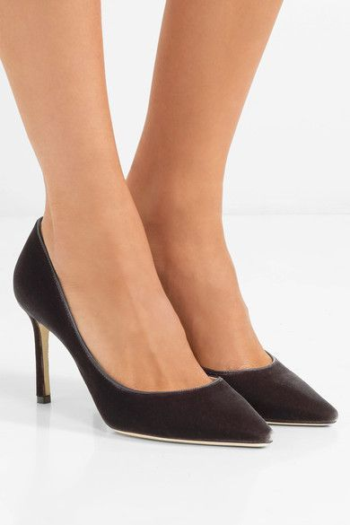 3035c0e80a JIMMY CHOO Romy 85 Dark-brown velvet pumps #JimmyChooHeels | Jimmy ...