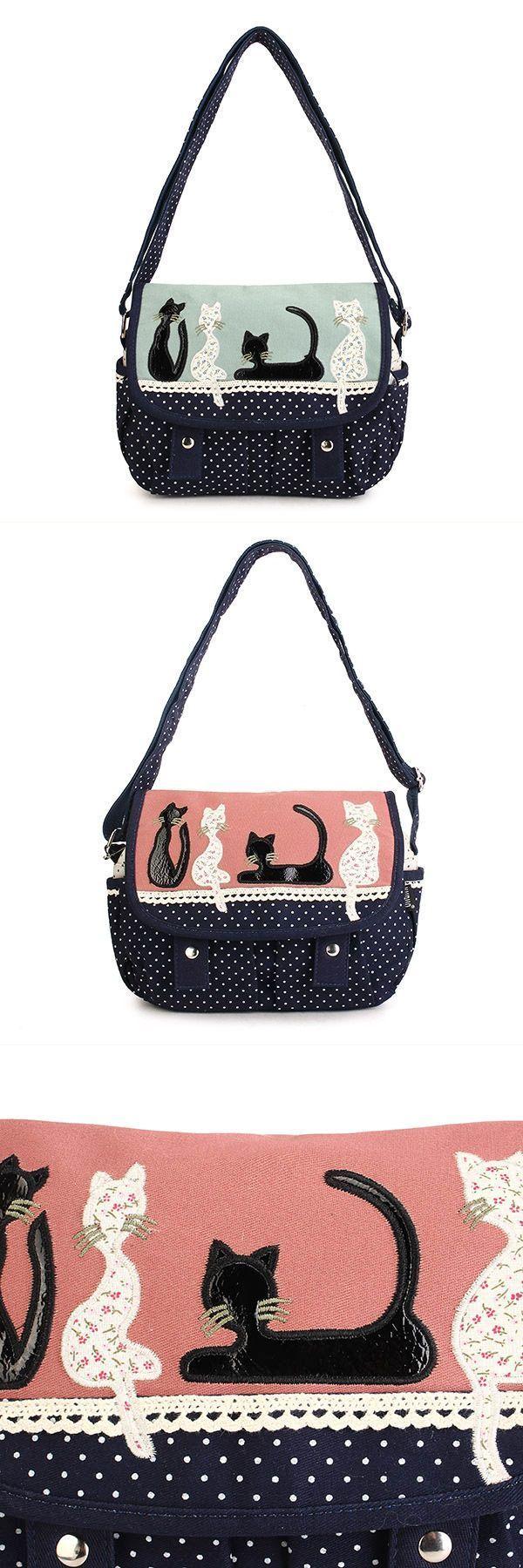 Women cute cat canvas polka dot crossbody bag shoulder bag b.o.c. crossbody bags #crossbody #bags #marshalls #crossbody #bags #nike #crossbody #bags #pacsun #j #crew #crossbody #bags