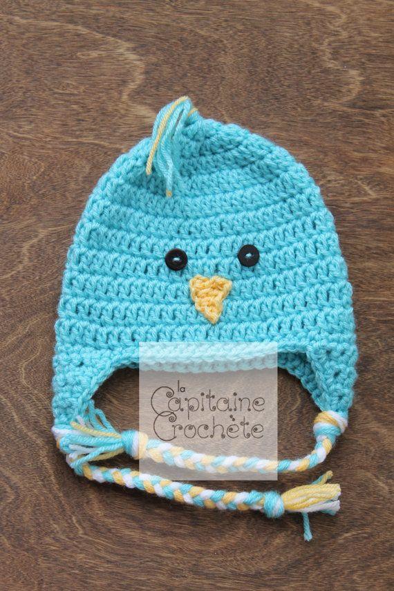 SALE 3-9 months hat chick aqua blue beanie by LaCapitaineCrochete
