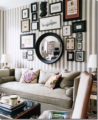 I would do this with wider stripes on the wall and probably a lighter shade of gray