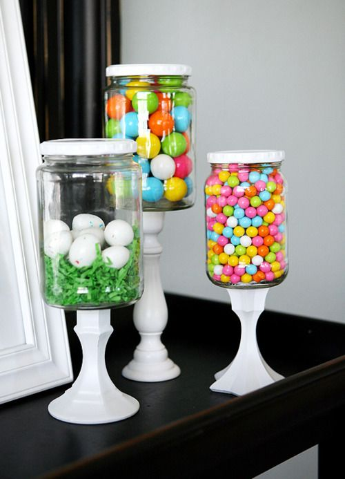 easter decorations.: Pickle Jars, Pickled Jars, Idea, Candlesticks, Easter Decor, Glasses Jars, Mason Jars, Apothecaries Jars, Candy Jars