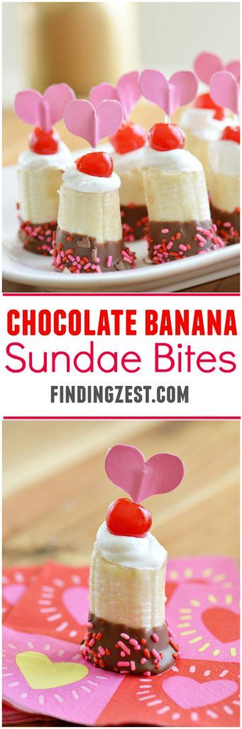 Give these chocolate banana sundae bites for Valentine's Day a try! This kid friendly frozen banana dessert works for any holiday or celebration,