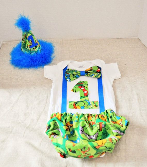 Rylo Ninja Turtles cake smash outfit with party hat by RYLOwear, $38.00