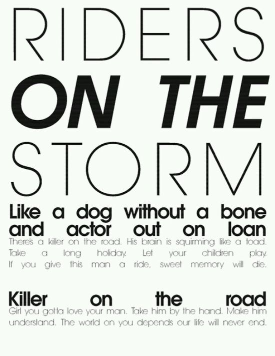 the doors - Riders on the Storm - song lyrics song quotes songs