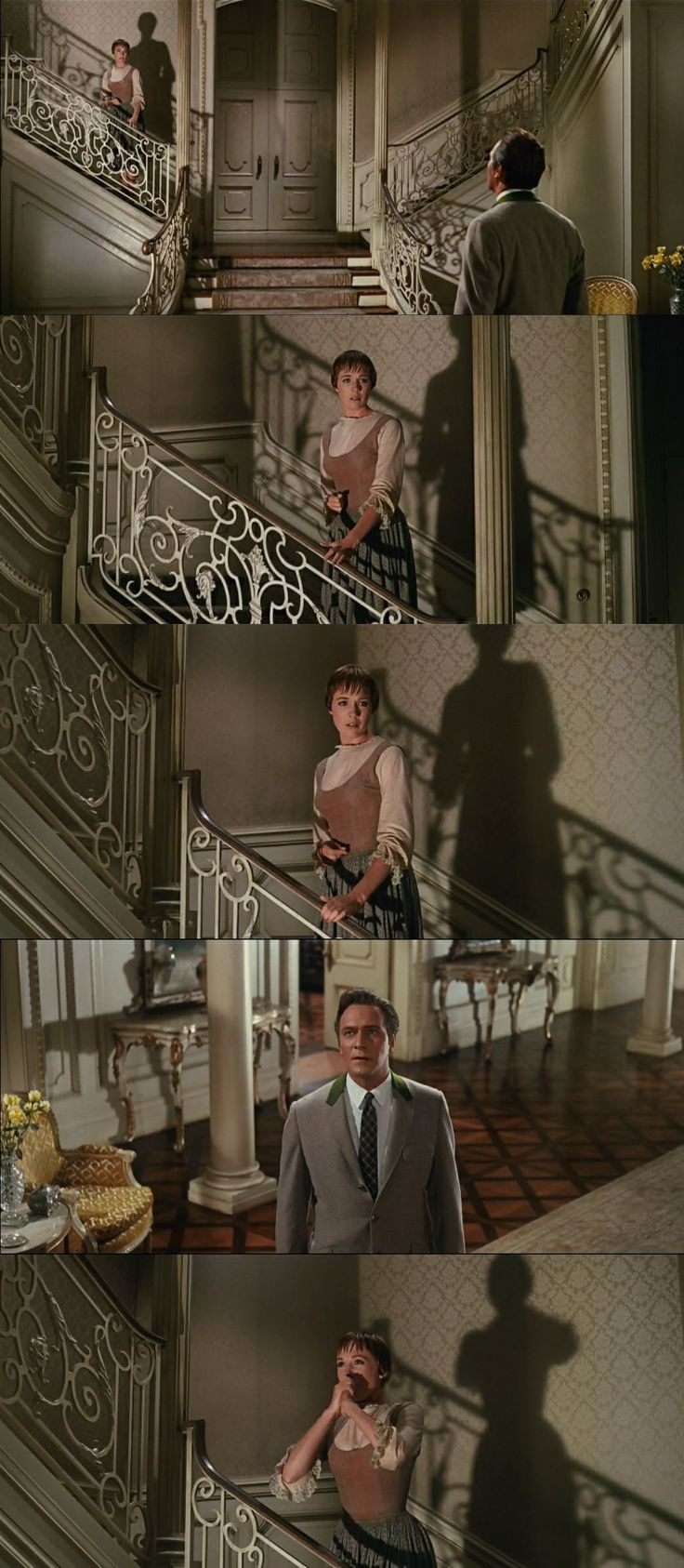 Is this the first spark of romance between the Captain and Maria? He wants her to stay.The Sound of Music 1965