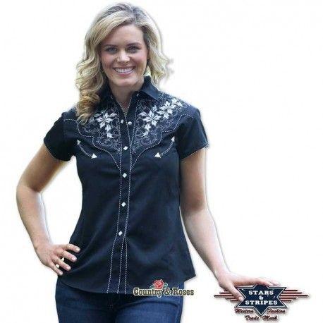 bonita camisa cowgirl para mujer isabel de color negro los motivos florales bordados en