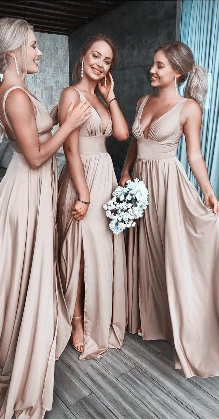 satin bridesmaid dresses, thigh split bridesmaid dresses, long bridesmaid dresse…