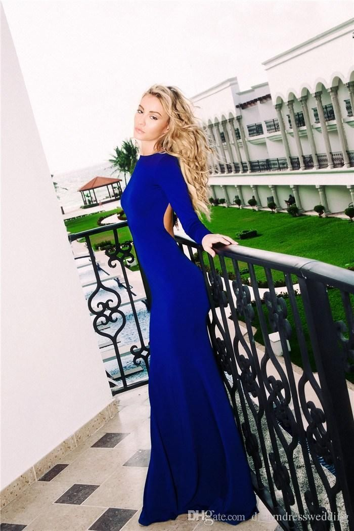 Prom Dress Canada Royal Blue Long Sleeve Prom Dresses 2016 Real Photo Open Back Illusion Back Floor Length Dress Evening Wear Casamento Prom Party Gowns Prom Dress Lace From Dreamdresswedding, $66.76| Dhgate.Com