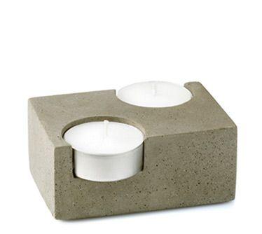 Double Concrete Tea-Light Candleholder (T2)