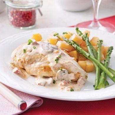Poulet sauce carbonara aux champignons et tomates séchées - Recettes - Cuisine et nutrition - Pratico Pratique