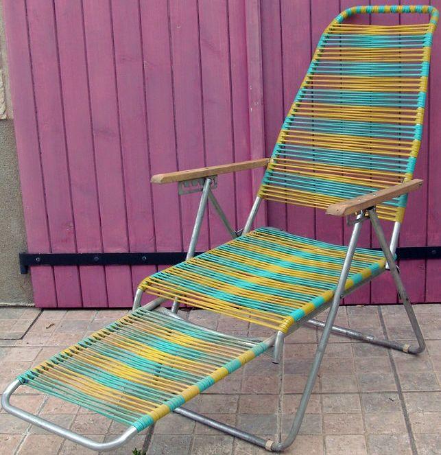 chaise longue 39 fils 39 scoubidou jaune et turquoise. Black Bedroom Furniture Sets. Home Design Ideas