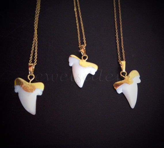 Shark Tooth Necklace Gold White Agate Layering Long Necklace  Shark Teeth Modern Gemstone Jewelry Gift Boho Chic C1
