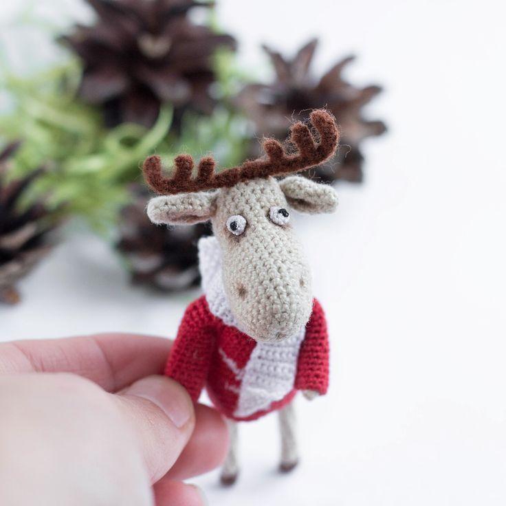 miniatur häkeln elch amigurumi kleines spielzeug gefüllte