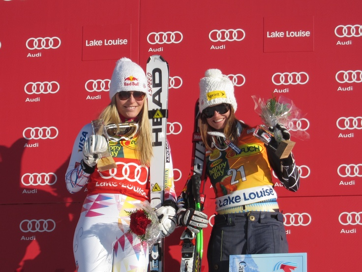 Lindsey Vonn and Julia Mancuso on the podium after finishing first and third in the Super G competition at Lake Louise in Alberta, Canada.