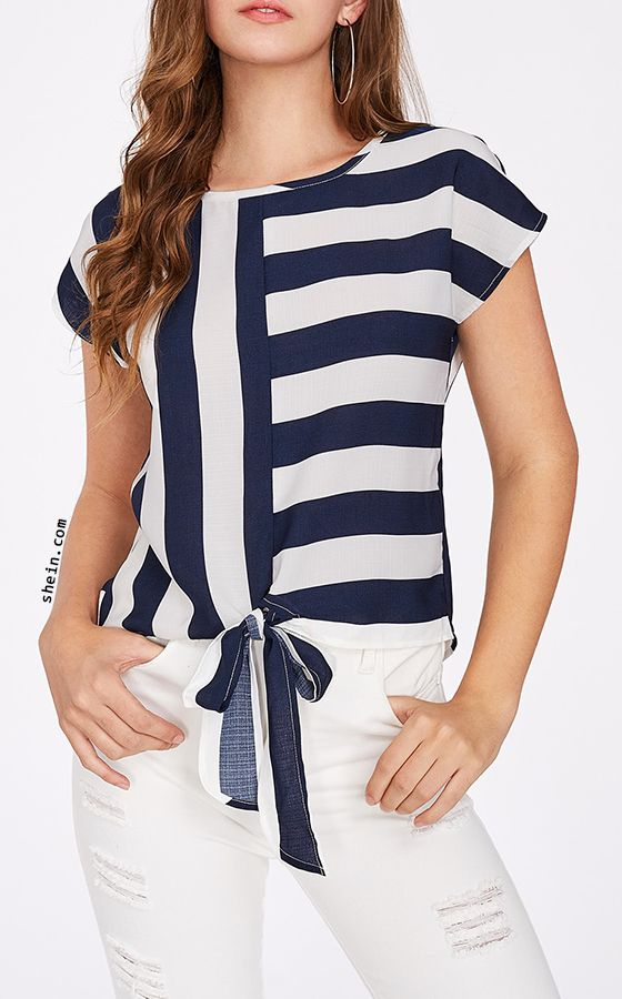Mixed Striped Tied Front Top