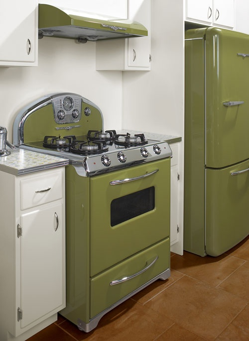avacodo green stove, white cabinets, grey counter tops