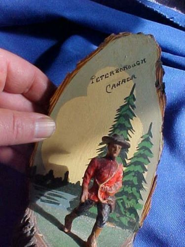 PHOTO 3 of 3: Peterborough Ontario Canada souvenir Kawartha Canadian Mounted Police Mountie and Indian Native around a campfire. They are made of wood and beautifully handcrafted. Circa 1940s.