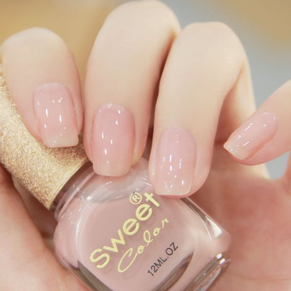 Nude pink nail polish translucent jelly texture exudes elegance and yet cute