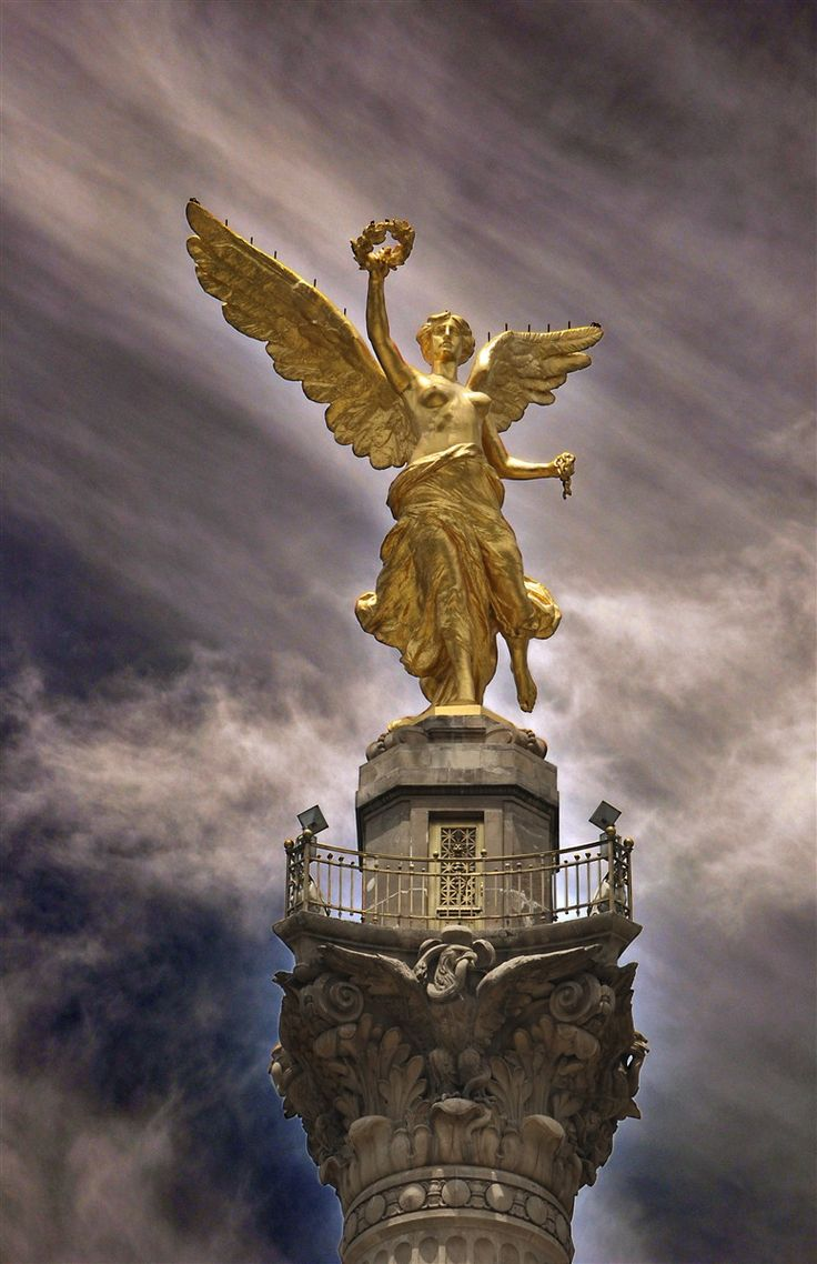 El Ángel de la Independencia (The Angel of Independence) in downtown Mexico City. El Ángel, as the monument is most commonly known, was built in 1910 to commemorate the centennial of the beginning of Mexico's War for Independence. At the base of the column supporting the monument are four bronze sculptures symbolizing Law, War, Justice, and Peace.