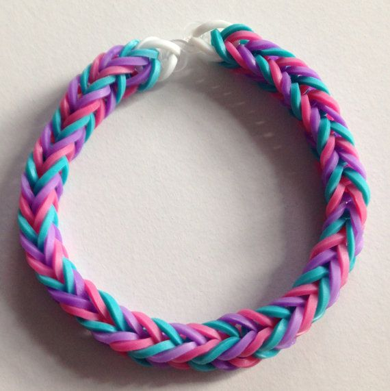 purple pink and blue rubber band bracelet by