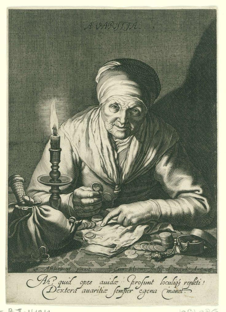 Cornelis Bloemaert (II) | Gierigheid, Cornelis Bloemaert (II), 1626 | Een oude vrouw zit bij het licht van een kandelaar haar geld te tellen. Links op tafel een buidel, rechts een juwelendoosje. Met tweeregelig Latijns onderschrift.
