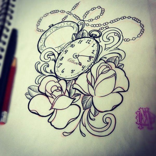 Roses, horloge de poche (dessins à calquer) - roses, pocket clock (drawing tracing)
