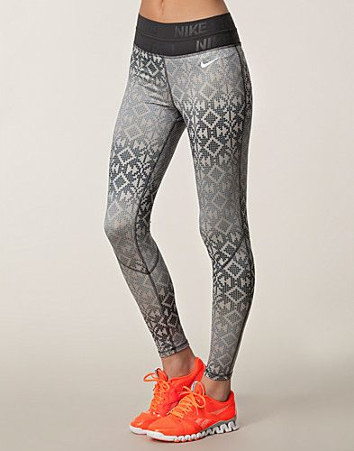 Pro Hyperwarm Tight Print - Nike - Black/white - Tights - Sports fashion - NELLY.COM UK ❤️