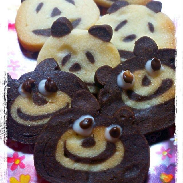 今年は全部自分で作ってた!どこを切ってもクマとパンダのクッキー♪愛嬌のある顔になってる~ - 55件のもぐもぐ - 娘が作った友チョコ♪チョコクッキー♪ by yyuummii