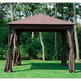 Carpa 3x3m cenador jardin marco metalico y paraviento for Carpas de madera para jardin