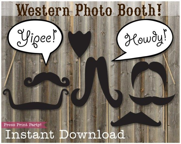Western Photo Booth Props - Cowboy and Cowgirl by Press Print Party!