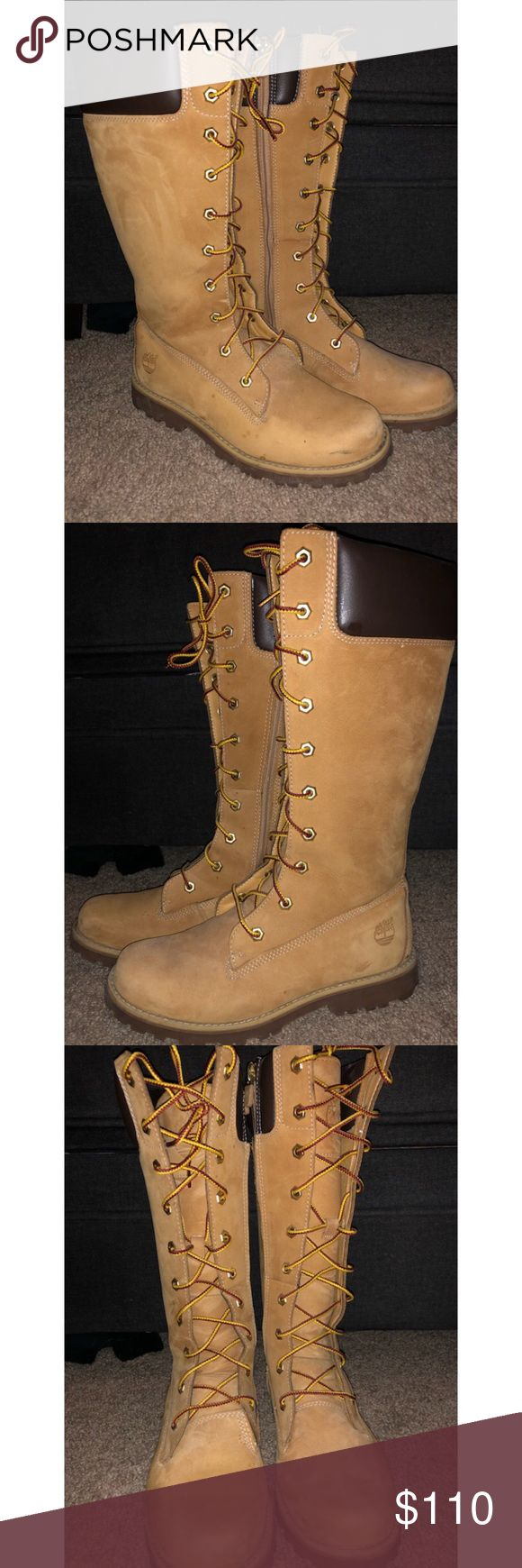 """Timberland Earthkeepers Premium 14"""" Zip Timberland Earthkeepers Premium 14"""" Zip - Wheat Leather Lace-Up Knee-High Boot 100% authentic. Size 5 Gently used. Some water spotting. Loose stitching. Good condition. No trades Timberland Shoes Combat & Moto Boots"""