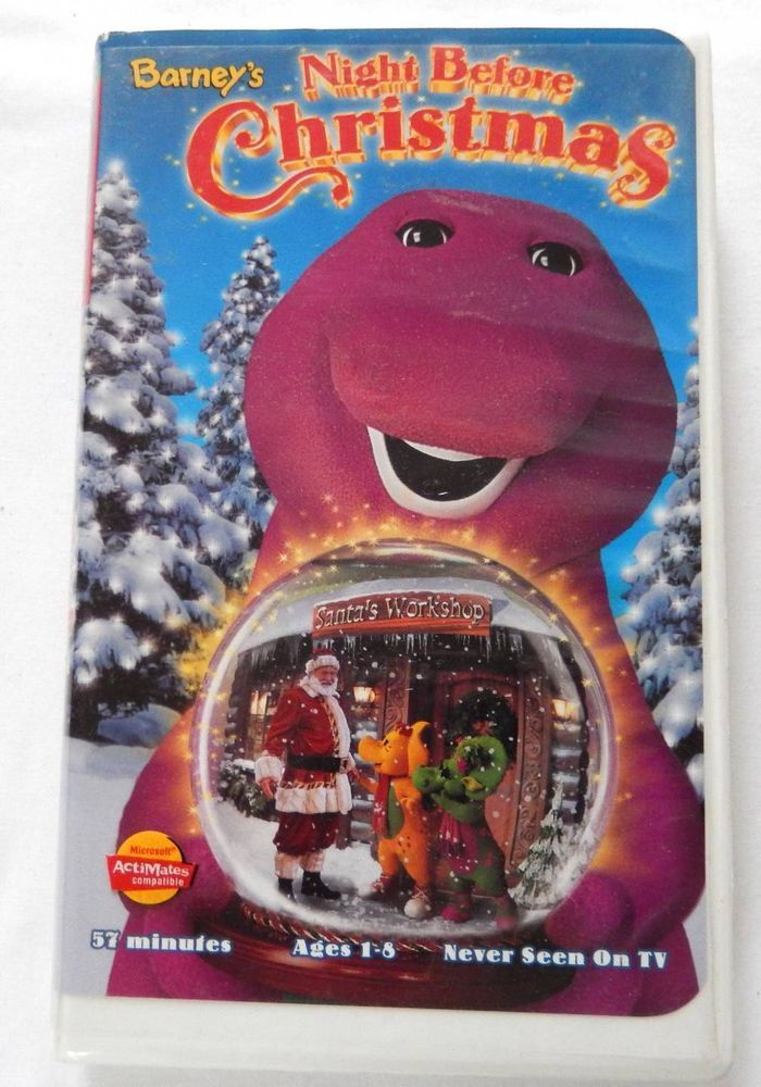 Barney's Night Before Christmas VHS Video in Clamshell Case ~ Christmas Songs